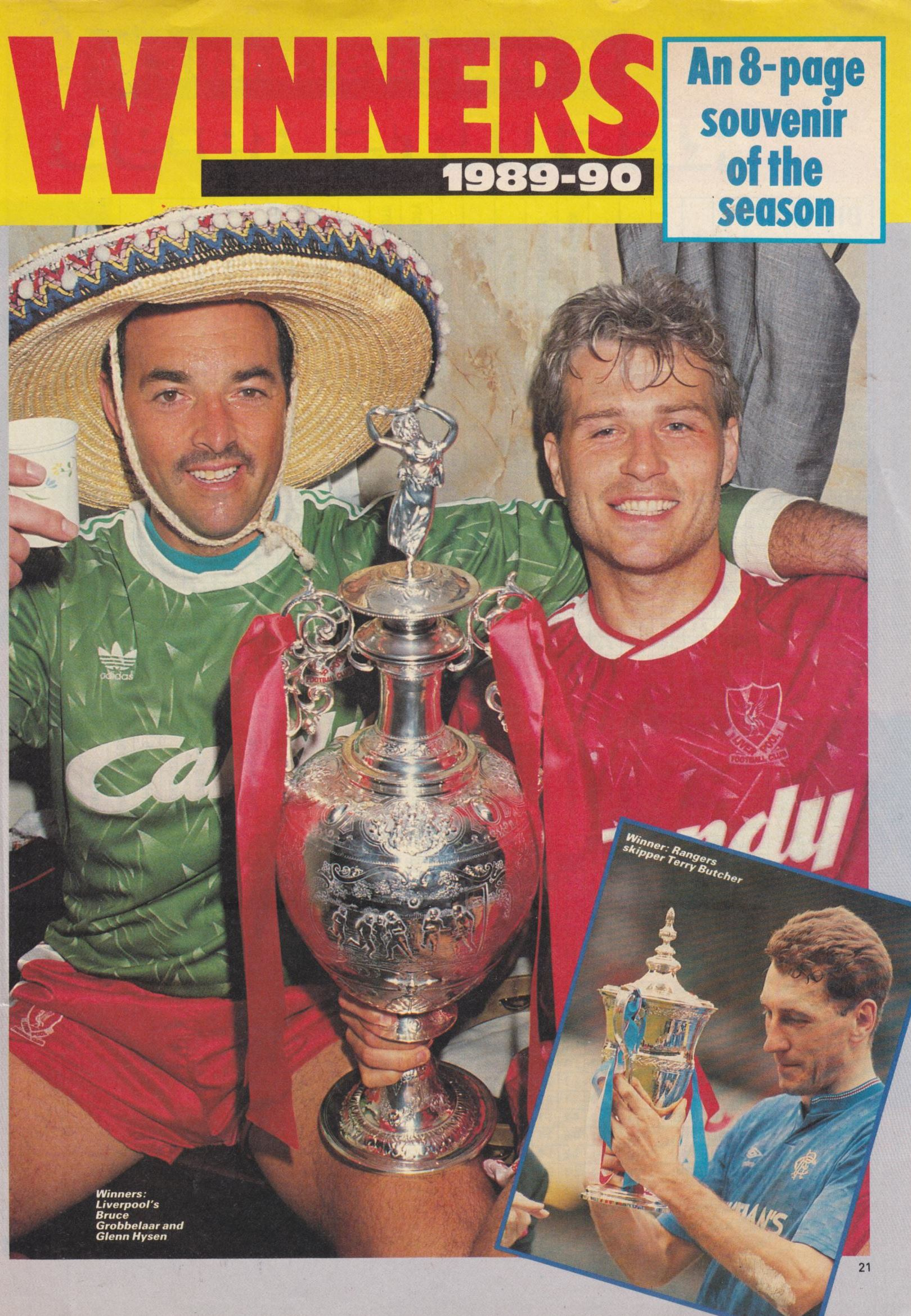 Grobbelaar and Hysén celebrating the 1990 title