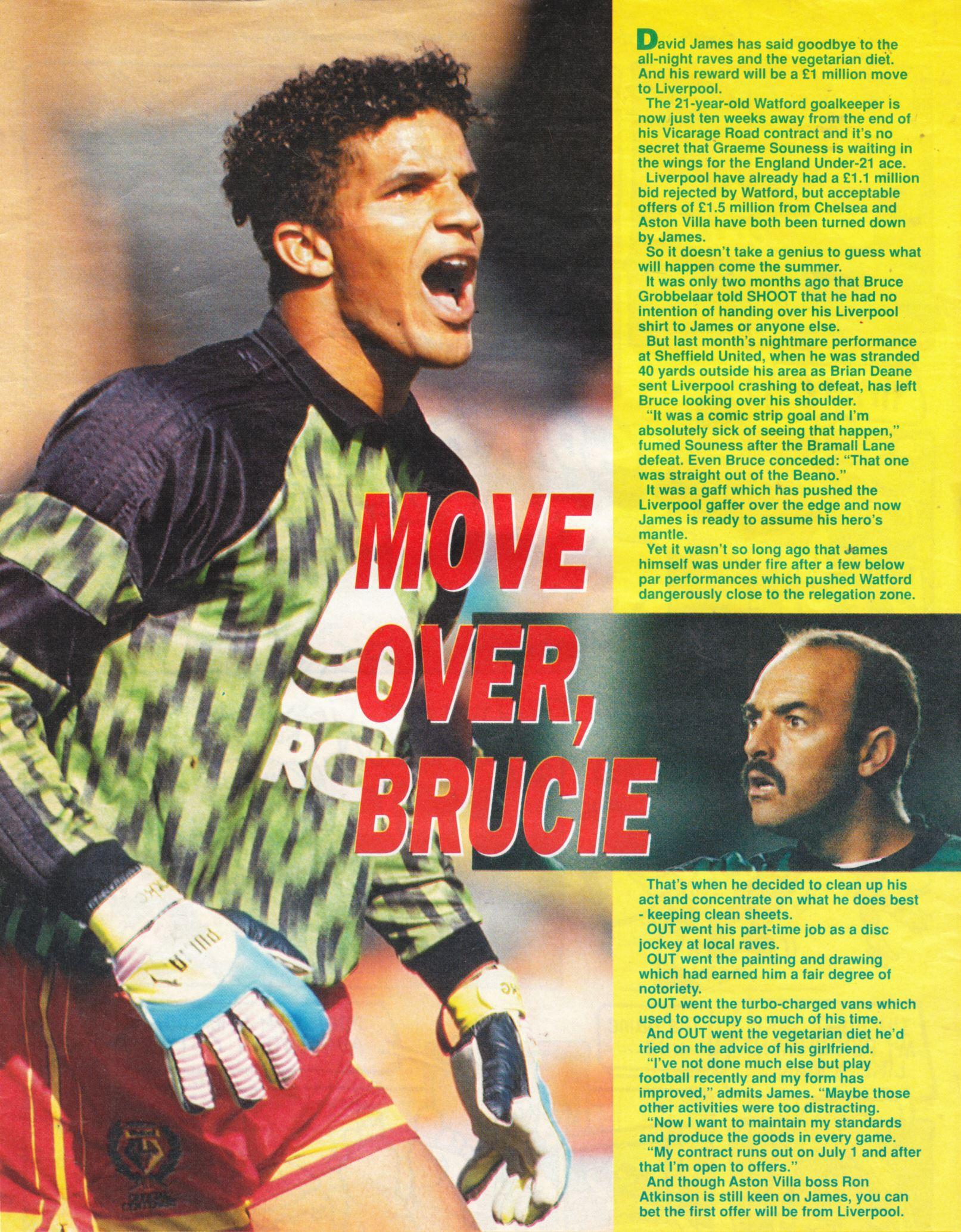 Move over, Brucie! says David James - June 1992