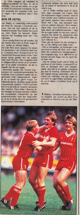 Jan Mølby and Sammy Lee celebrate Dalglish's goal on the Dane's debut on 25 August 1984