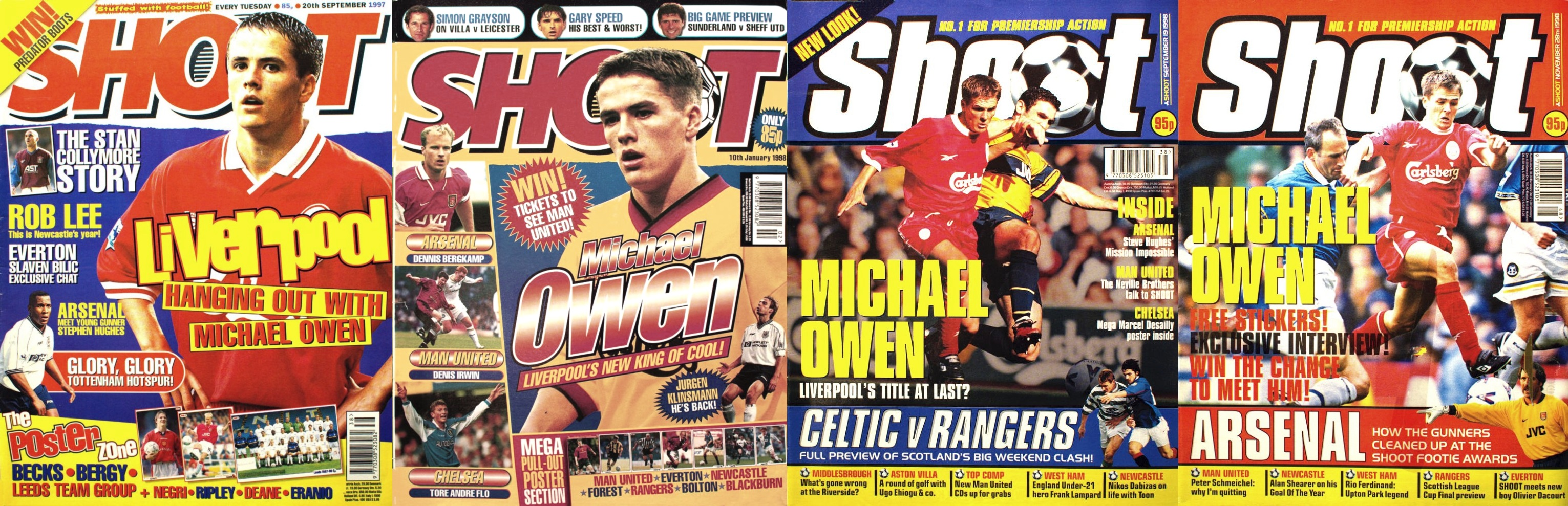 Michael Owen on the cover of Shoot! 1997-1998