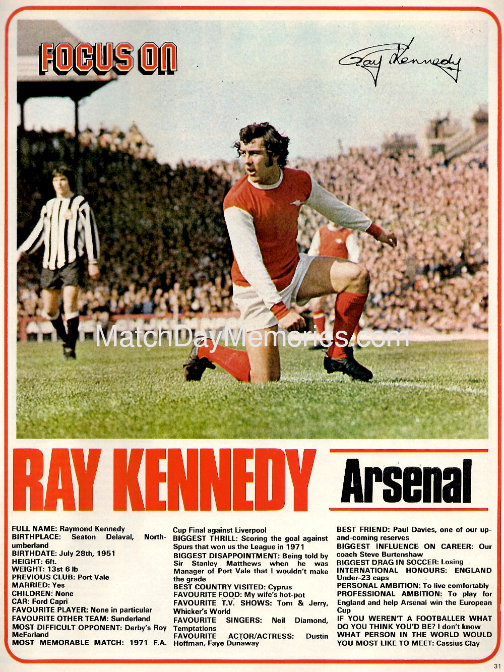 Focus on Arsenal's Ray Kennedy