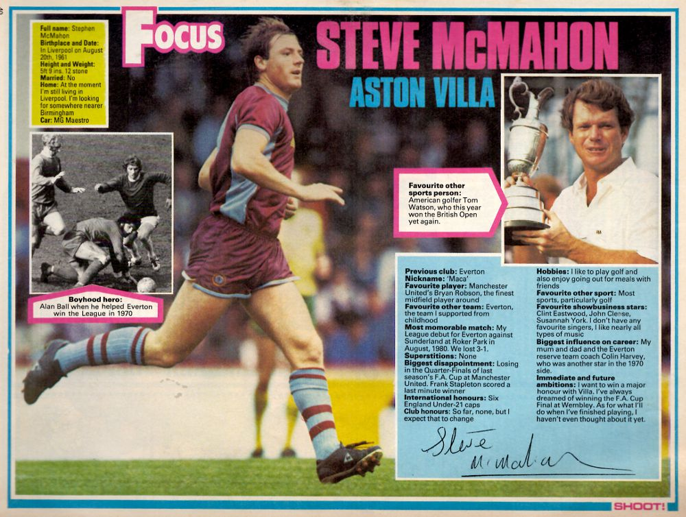 Focus on Aston Villa's Steve McMahon