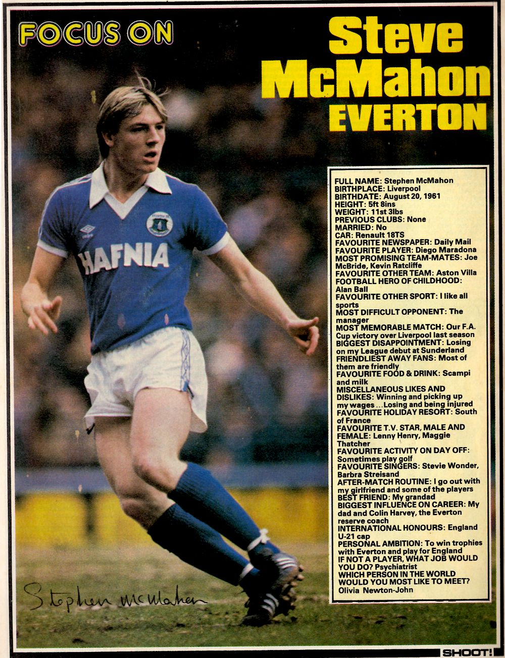 Shoot! focus on Everton's McMahon - 1981