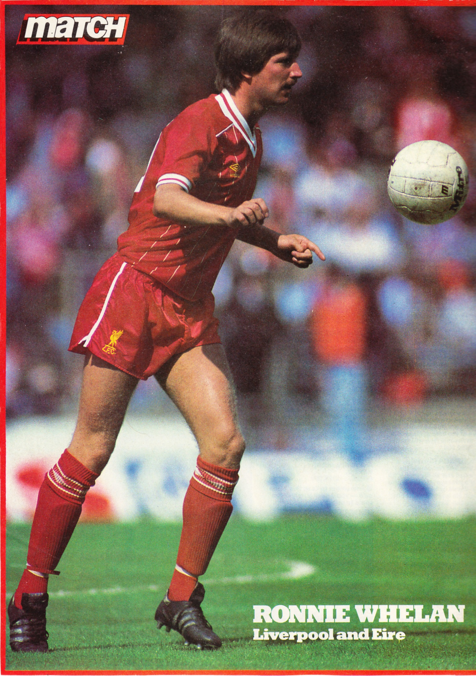 Match poster of Ronnie Whelan from early 80s