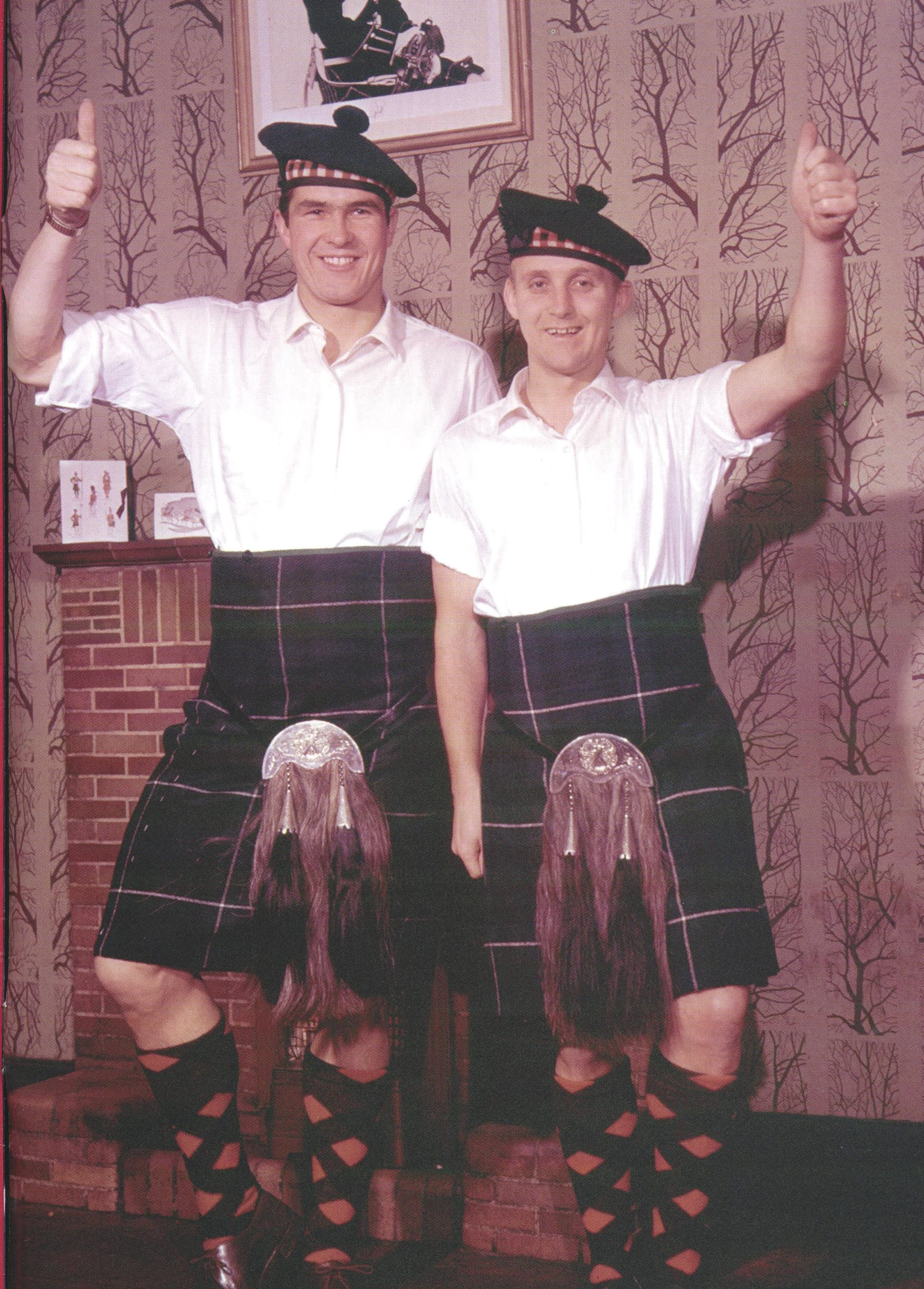 Ron Yeats and Alex Young in traditional dress in the 60s