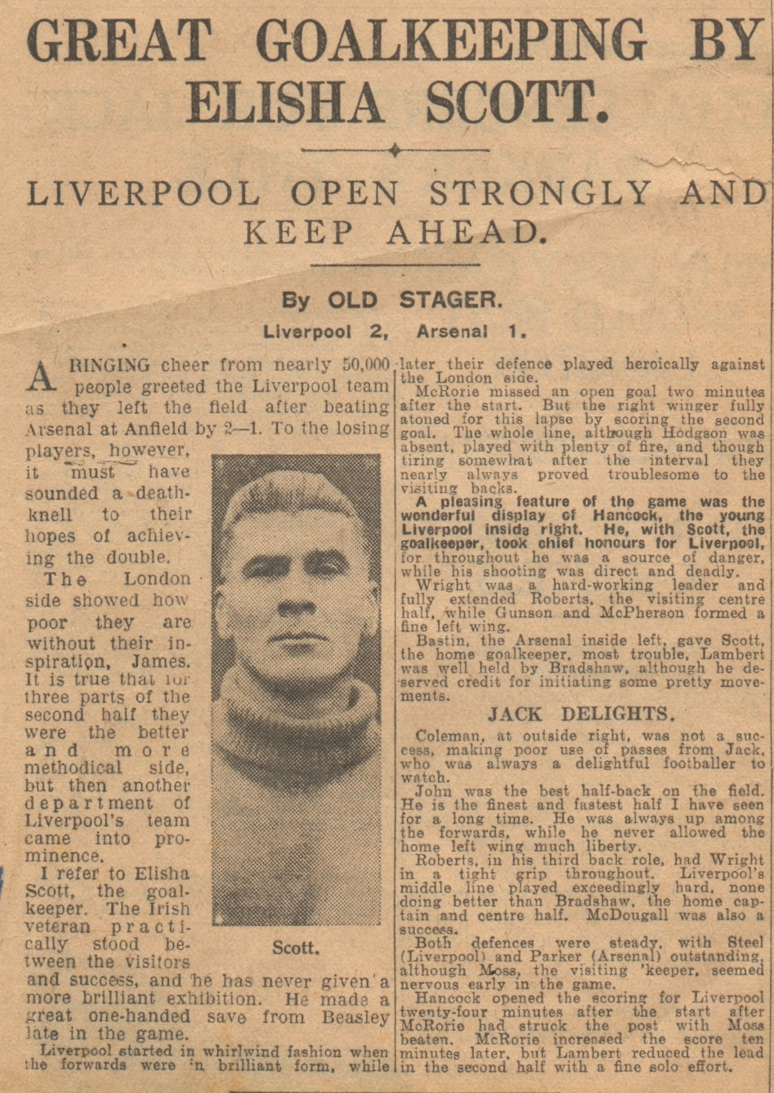 Great goalkeeping by Scott - 9 April 1932