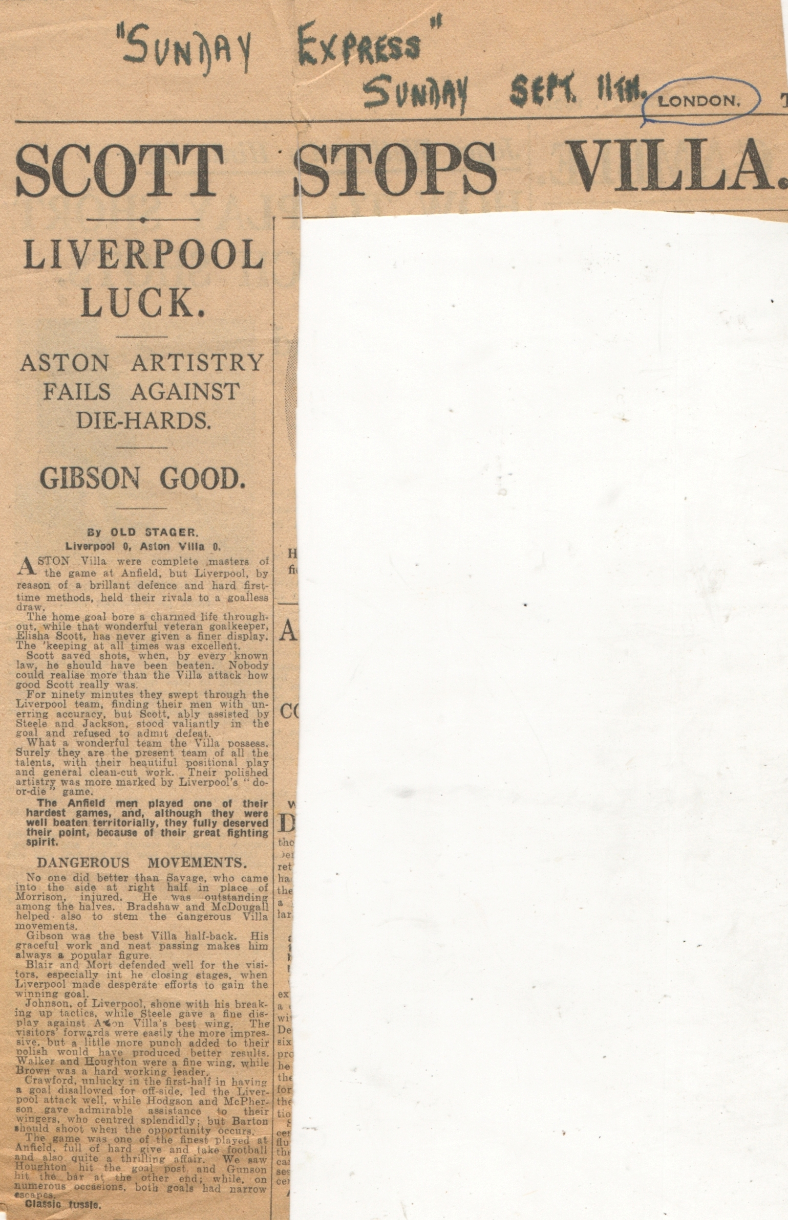Scott stops Villa! - 10 September 1932