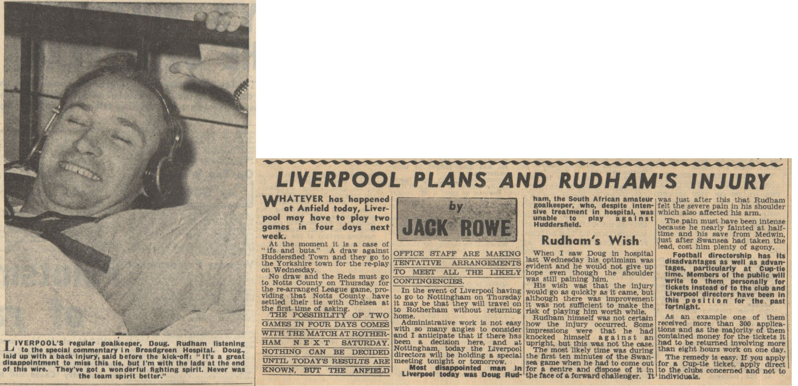 Doug misses out on Huddersfield - 19 February 1955