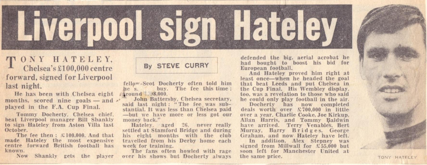 Liverpool sign Hateley - from 6 July 1967