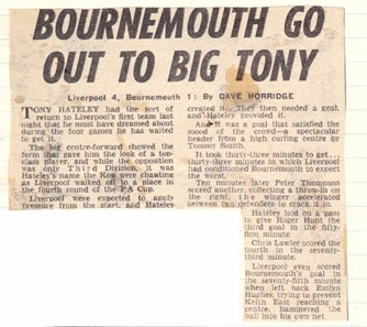 Bournemouth go out to big Tony - 30 January 1968