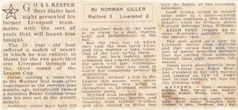 A gift by former keeper Slater - 3 September 1969