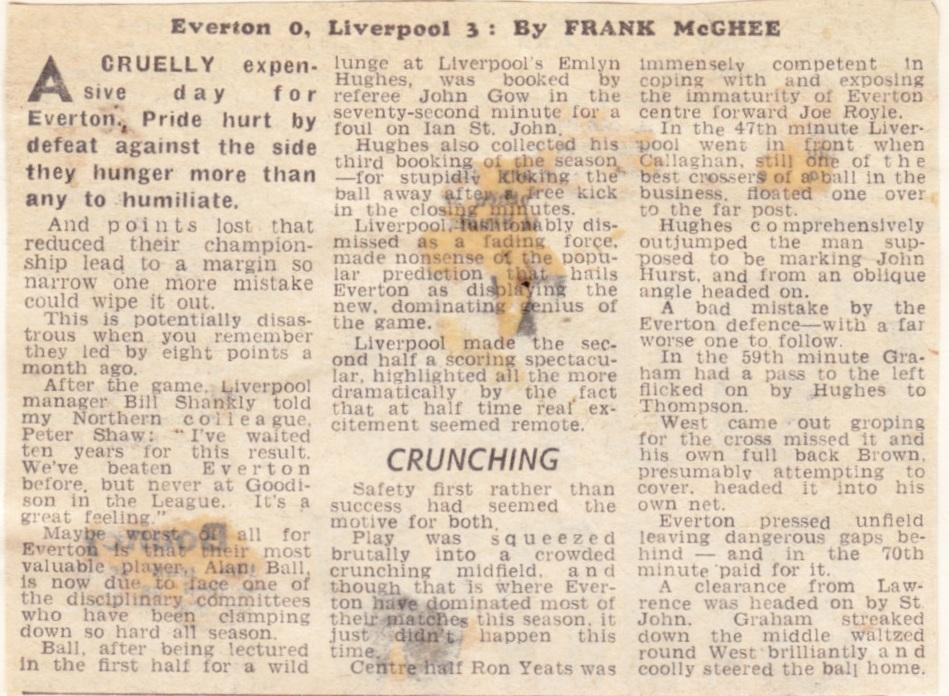 I have waited ten years for this result, says Shankly on 6 December 1969