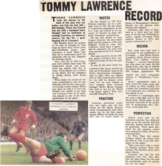 Tommy Lawrence's record - from the 1968/69 season