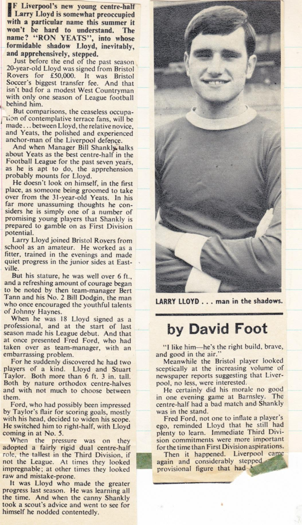 Larry Lloyd - the natural successor to Ron Yeats