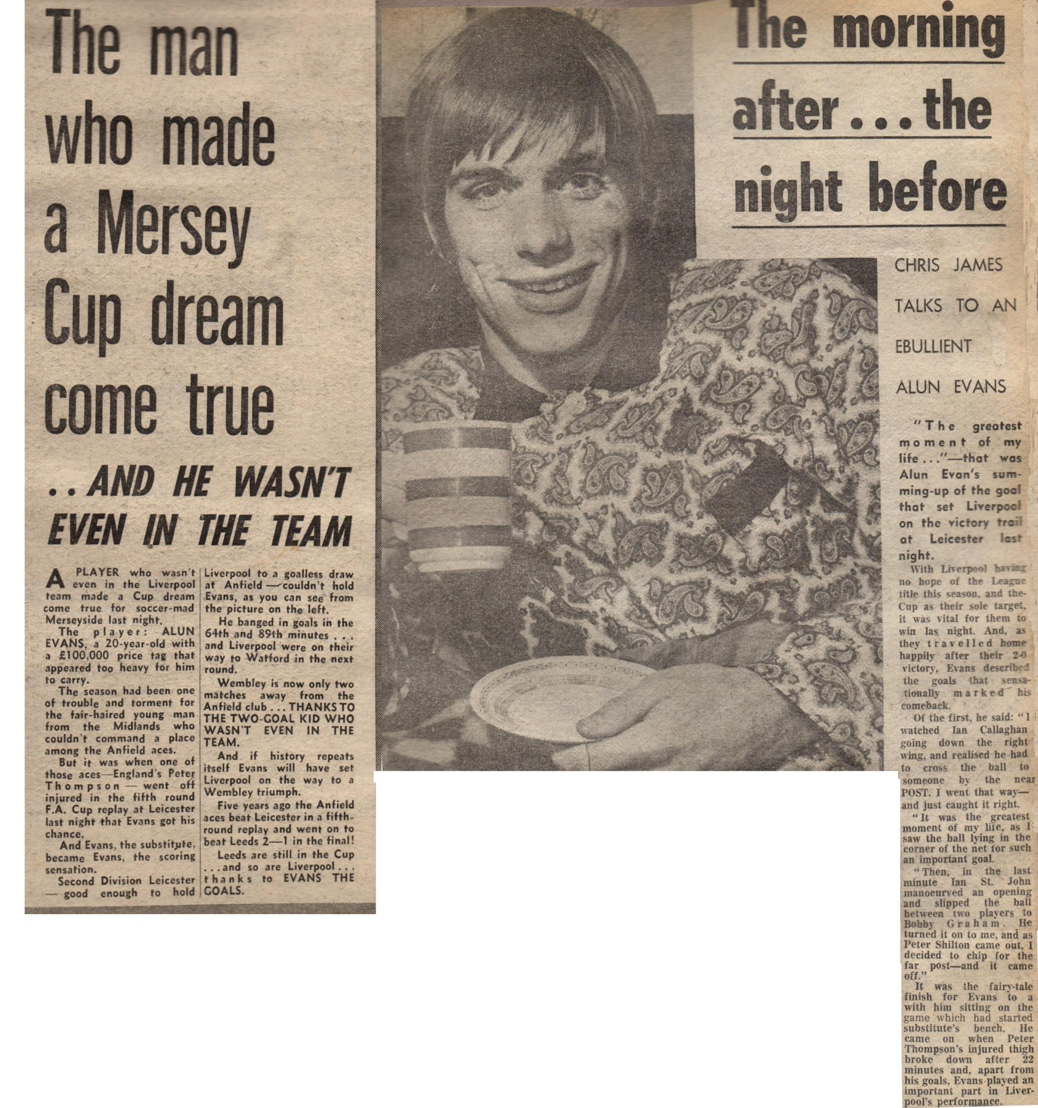 11 February 1970 - Evans returns to side in glorious fashion!
