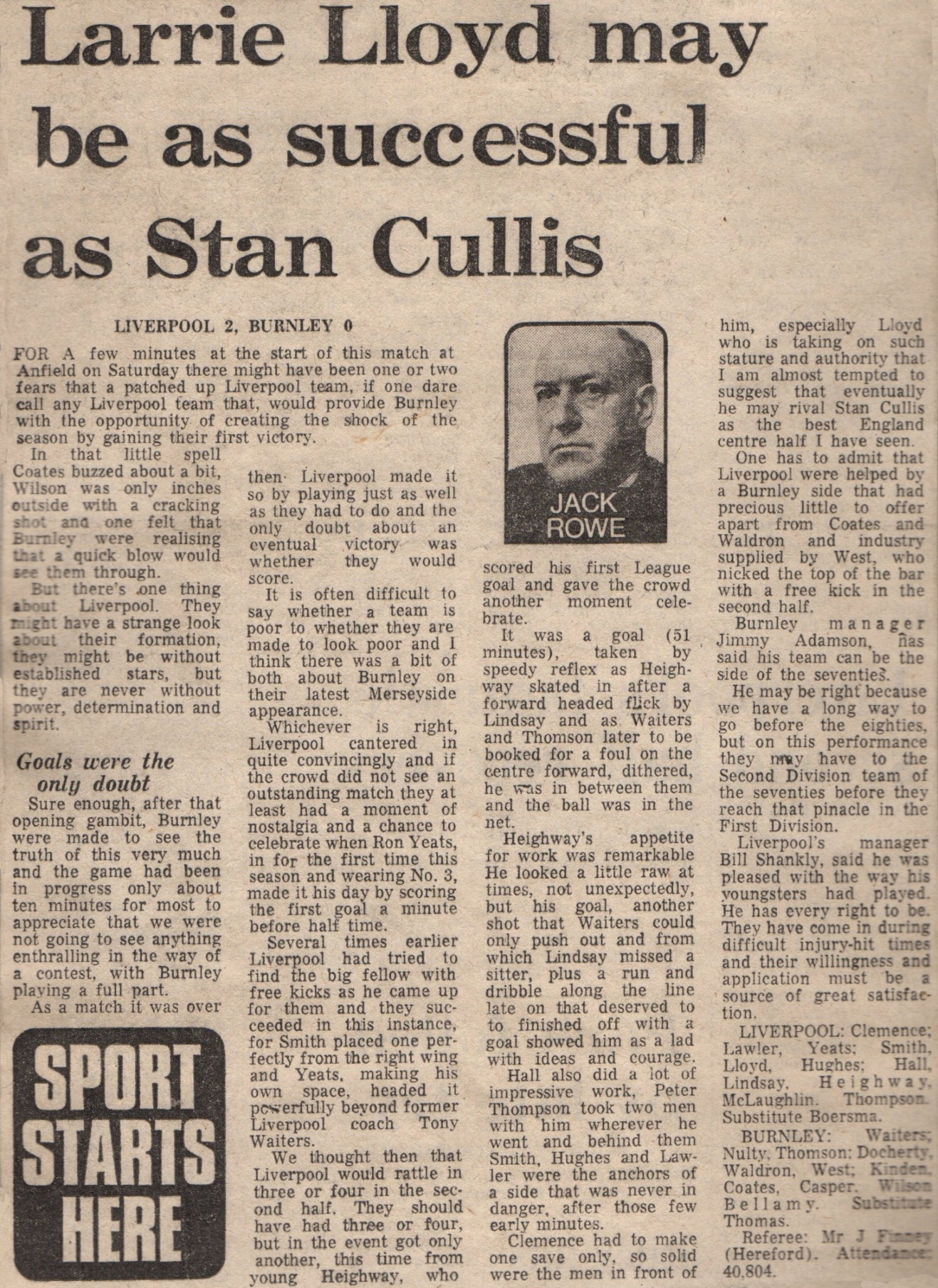 Larry Lloyd may be as successful as Stan Cullis - 17 October 1970