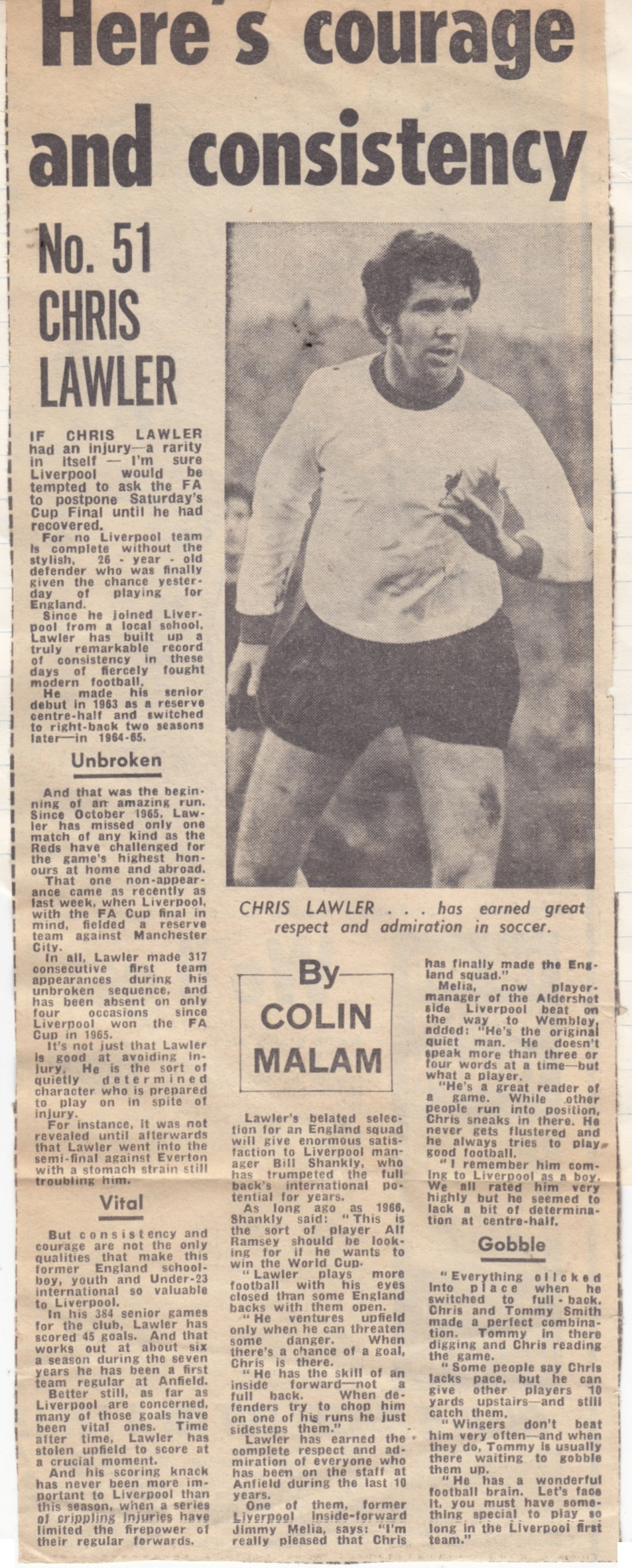 Consistency and courage the hallmarks of Lawler - profile prior to the 1971 final