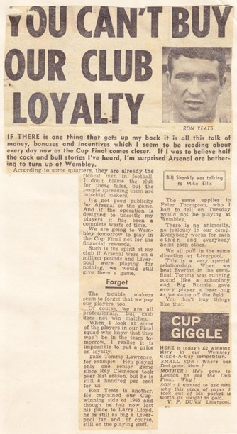 You can't buy club loyalty, says Shankly prior to the 1971 FA Cup final