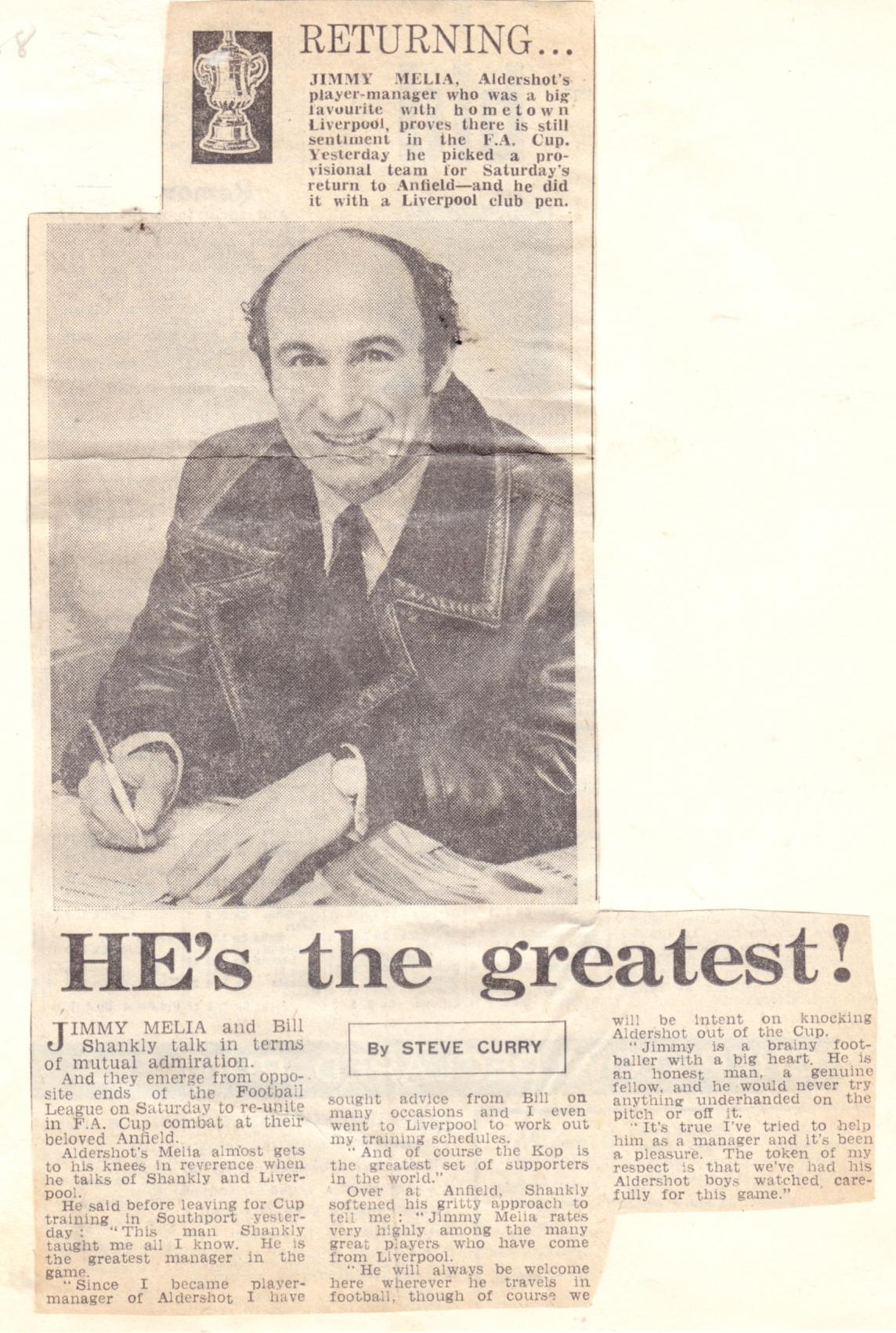 Melia's return to Liverpool as Aldershot boss in January 1971