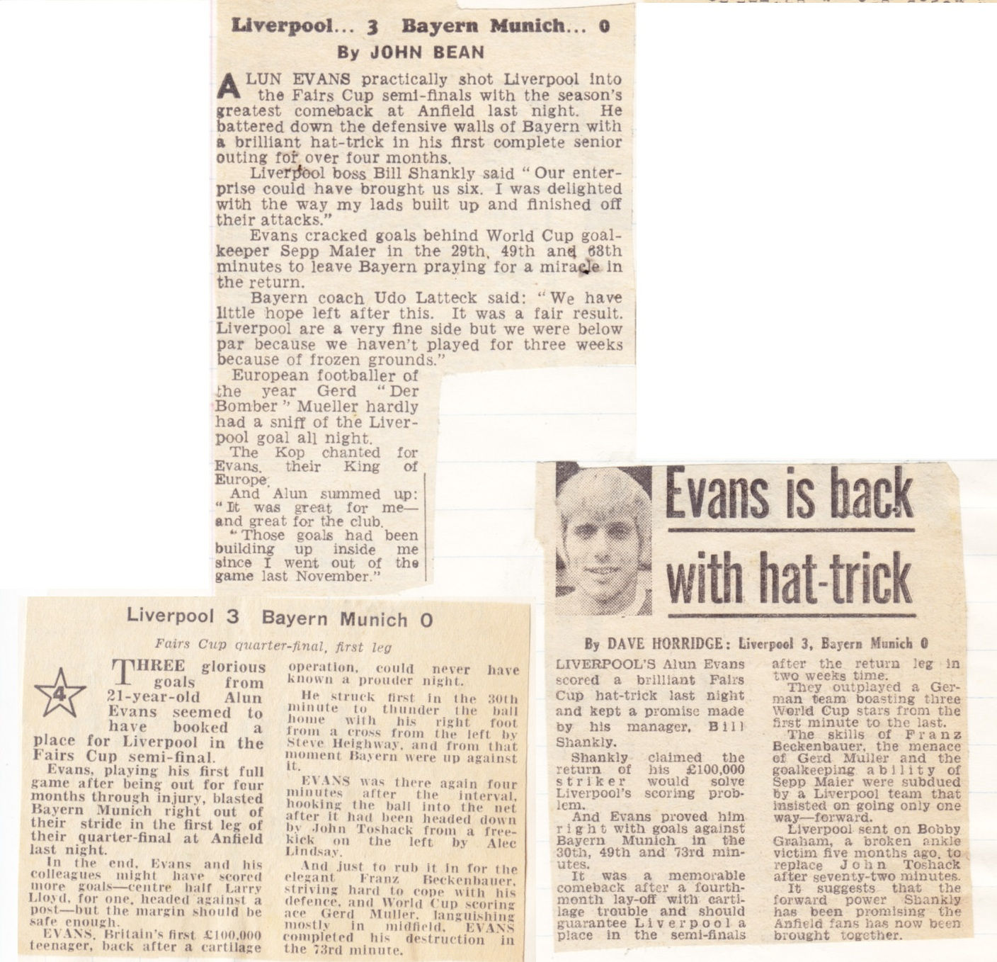 Evans back with a hat-trick! - 10 March 1971