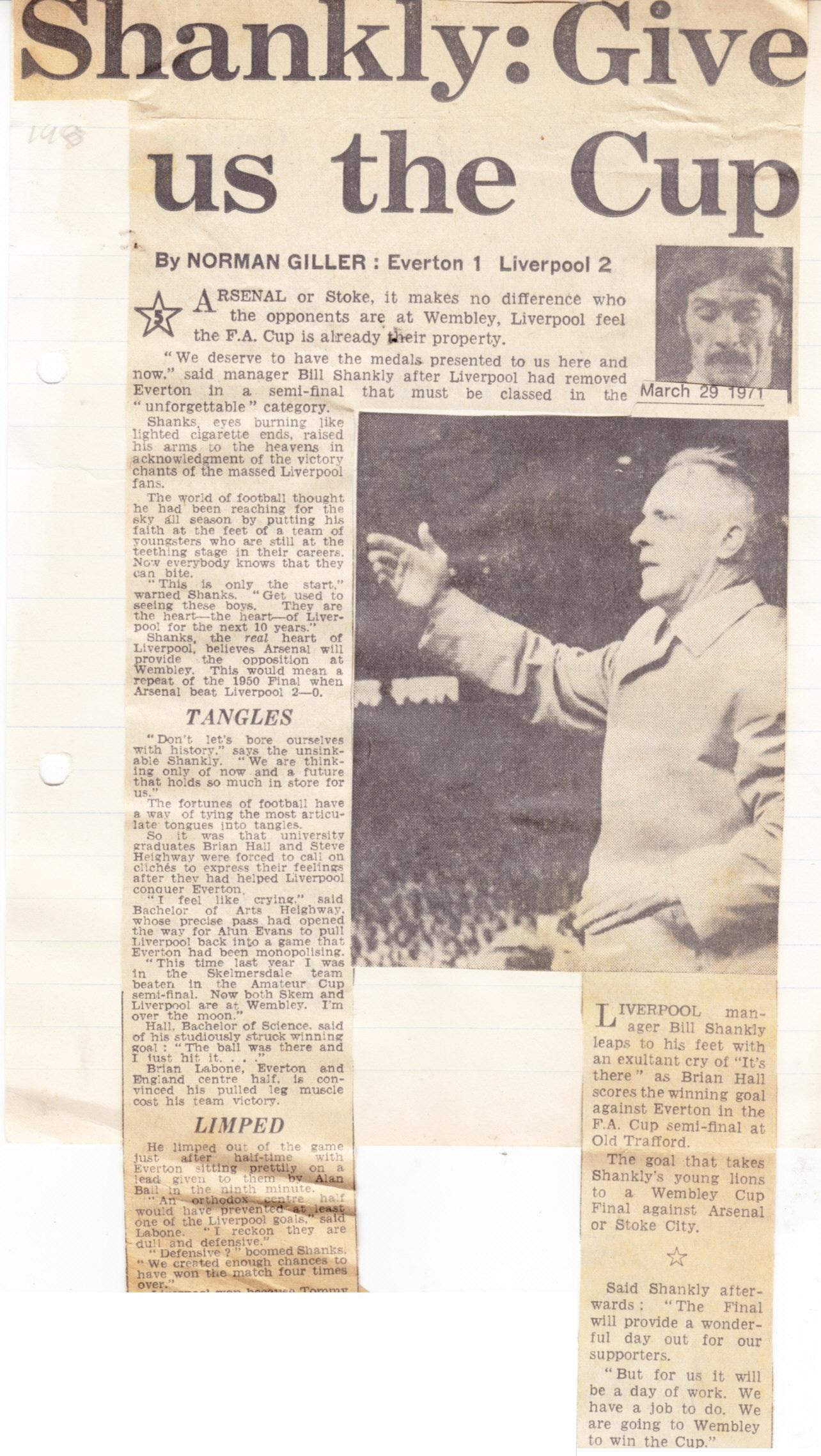 Give us the cup! Shankly demands in 1971