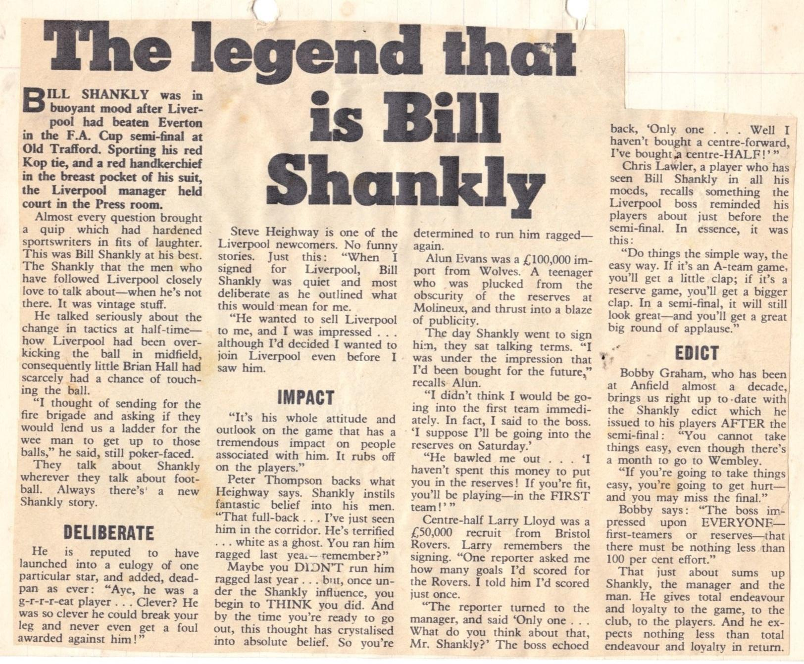The legend that is Bill Shankly - 27 March 1971