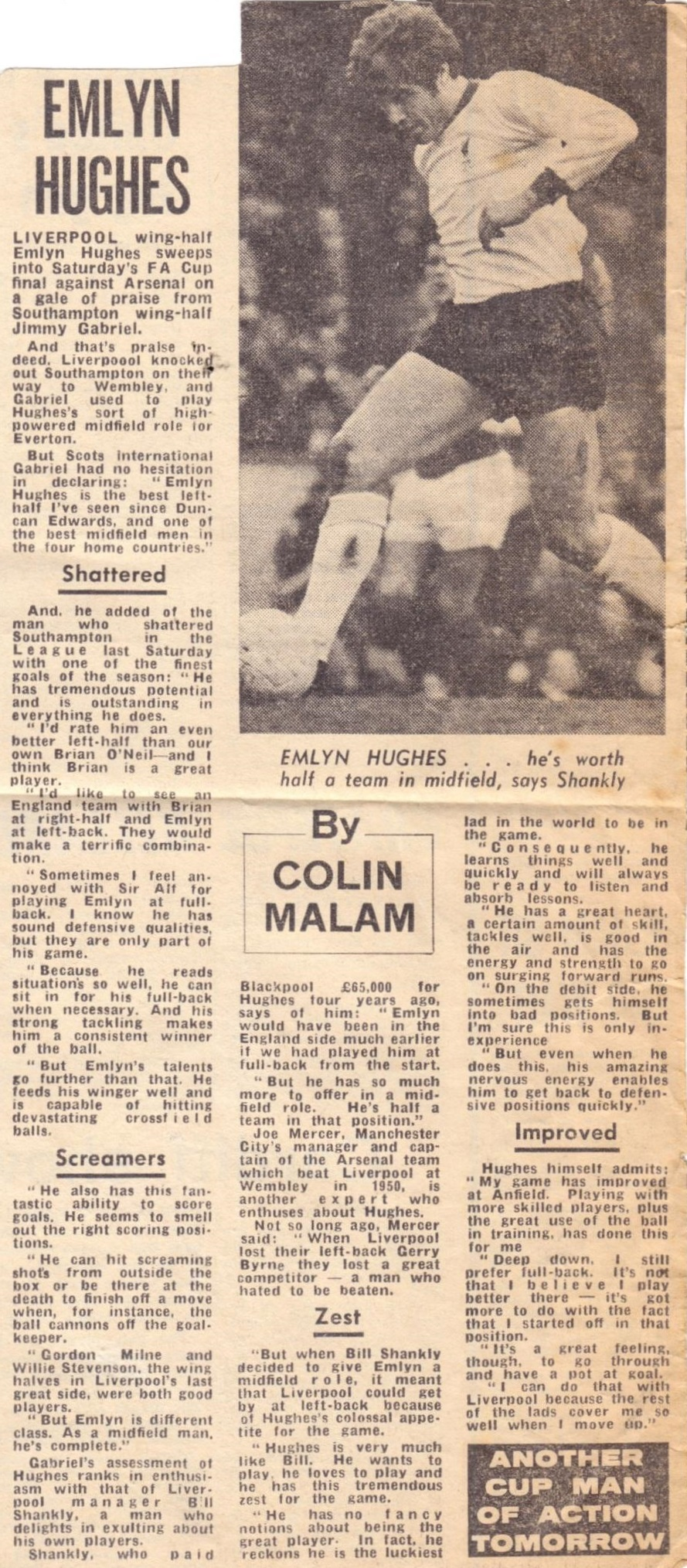 Spotlight on Emlyn Hughes before the 1971 FA Cup final