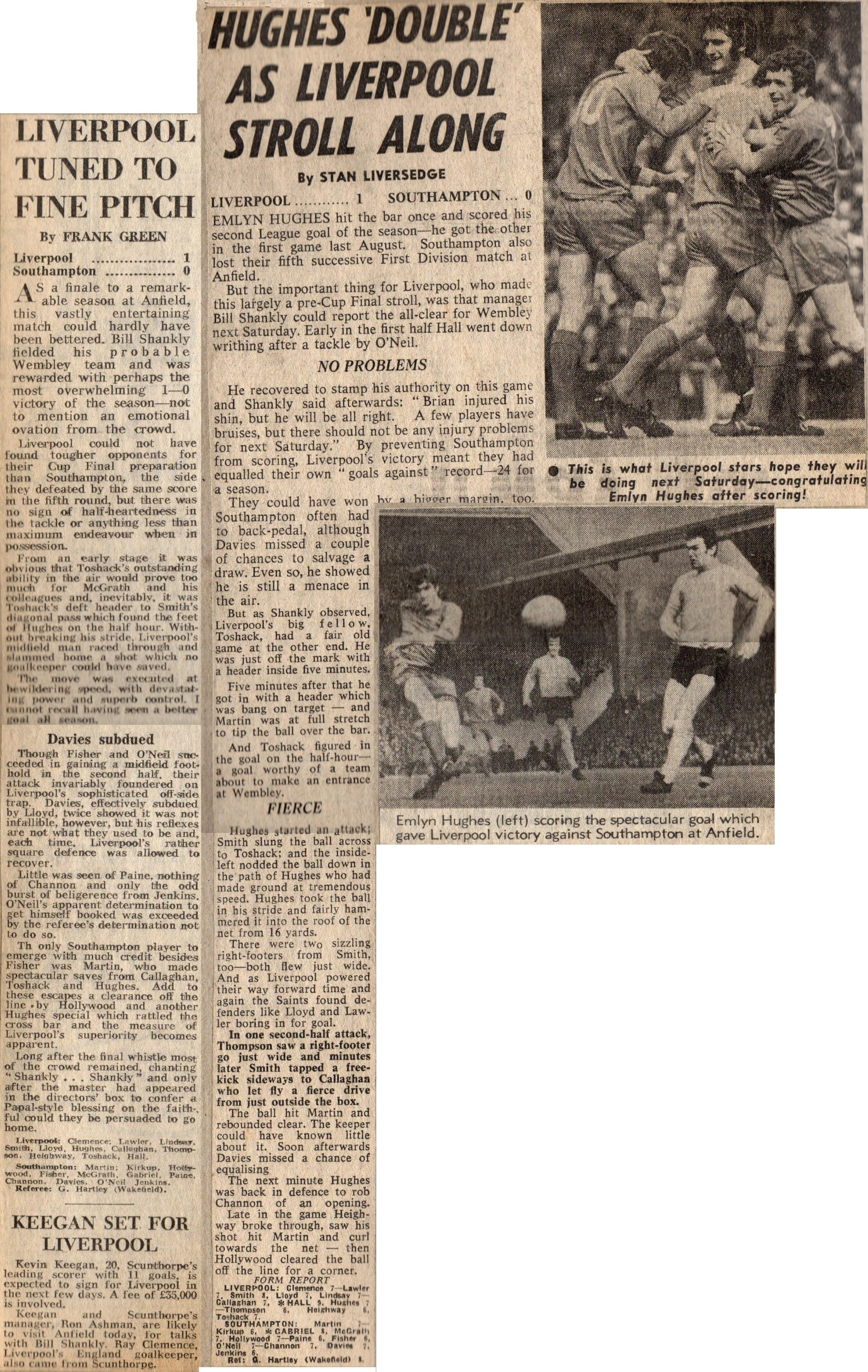 Hughes double versus Southampton on 1 May 1971