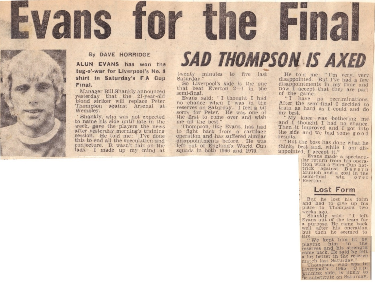Evans for the 1971 FA Cup final as Thompson is axed