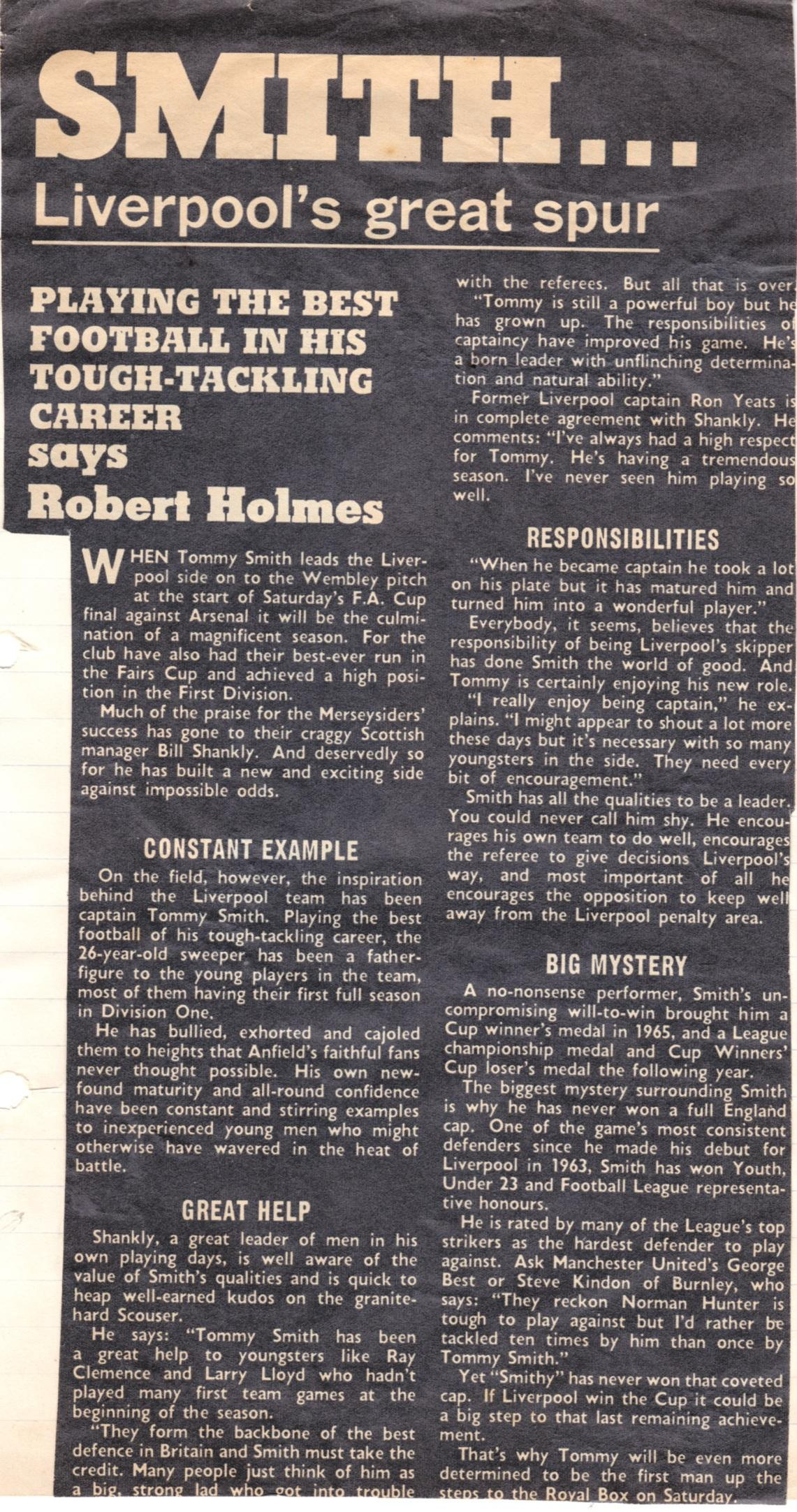 Playing the best football of his tough-tackling career - from  May 1971
