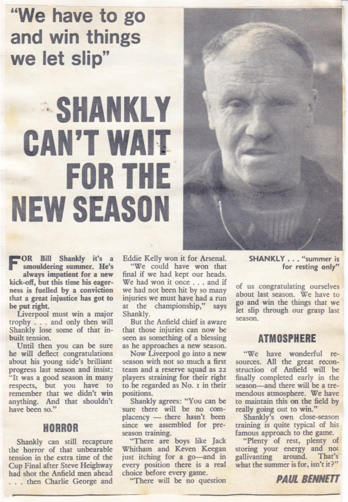Shankly can't wait for the 1971/72 season