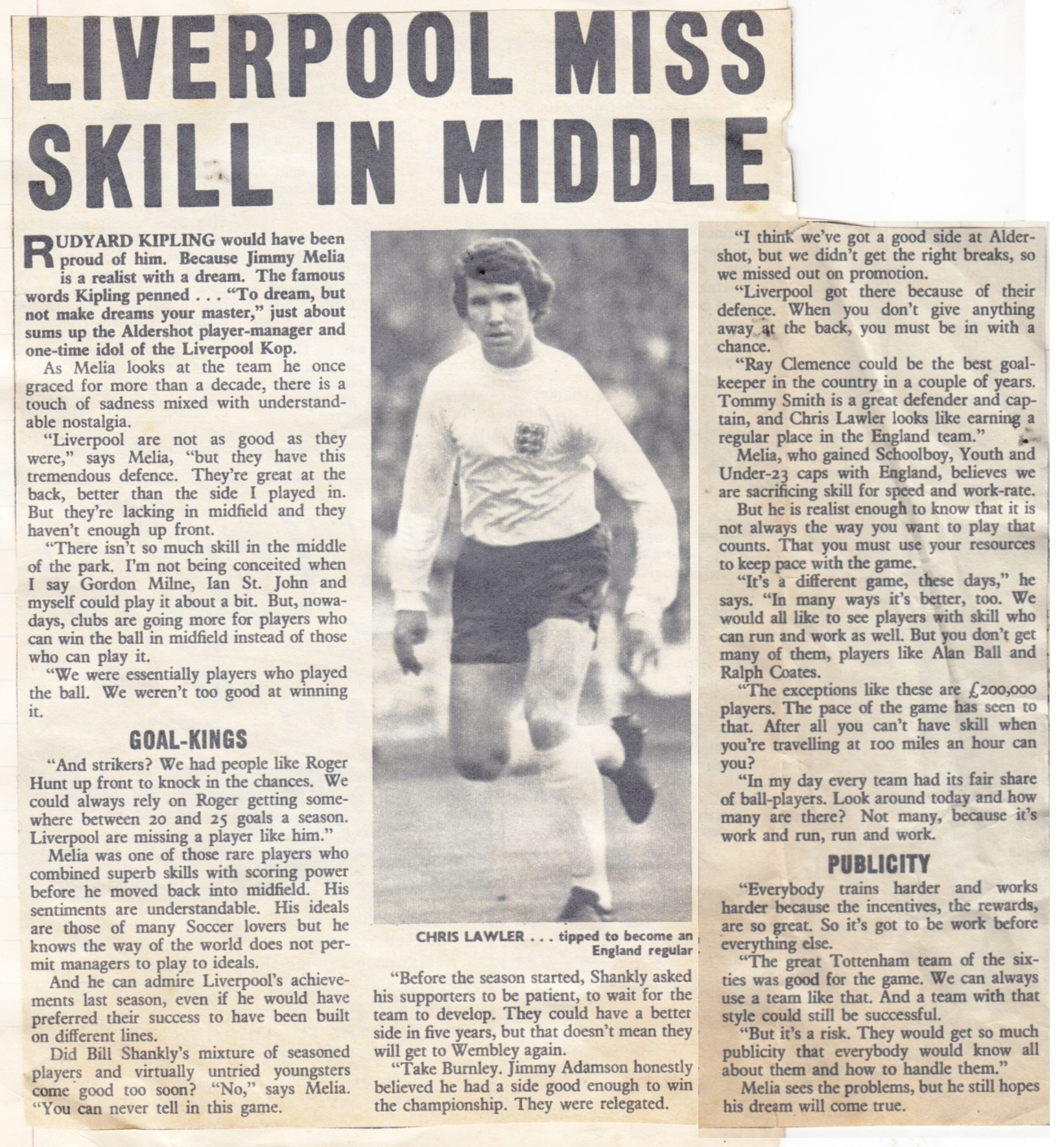 Liverpool miss skill in the middle, says Melia in 1971