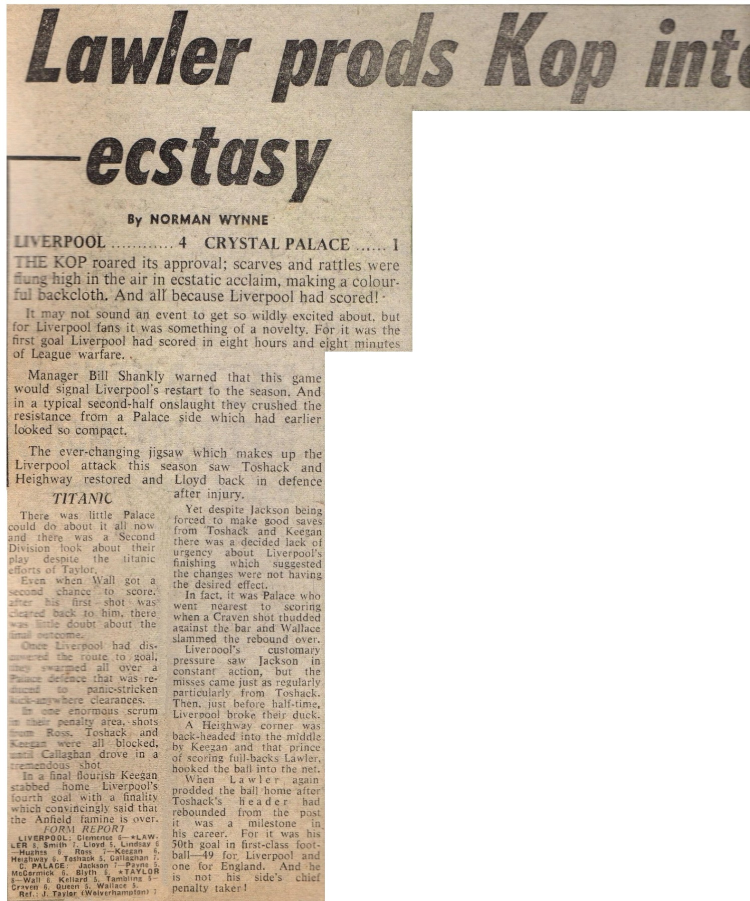 Lawler prods Reds into ecstasy - 29 January 1972