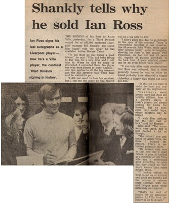 Why I sold Ian Ross, by Bill Shankly - February 1972