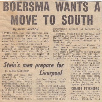 Boersma wants a move south after he is dropped for the 1974 FA Cup final