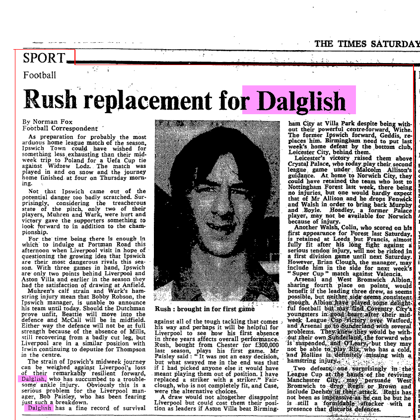 Rush replacement for Dalglish - 13 December 1980
