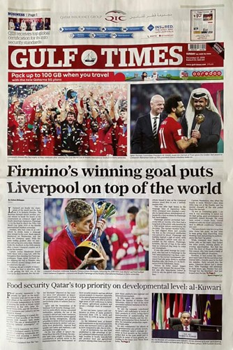 Gulf Times Frontpage