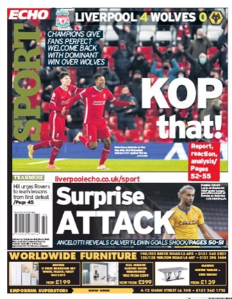 Liverpool Echo Back Page