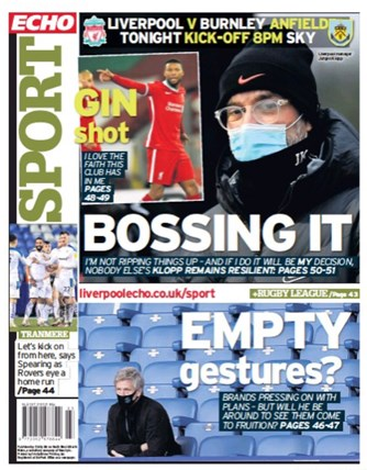 Liverpool Echo Backpage - Before match