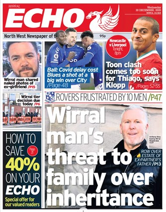Liverpool Echo Frontpage (Before game)