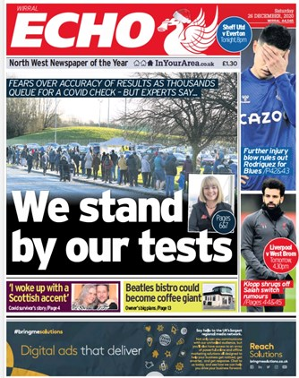 Liverpool Echo Frontpage (26/12)