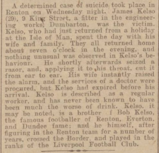 Kelso commits suicide - Dundee Courier 27 July 1900