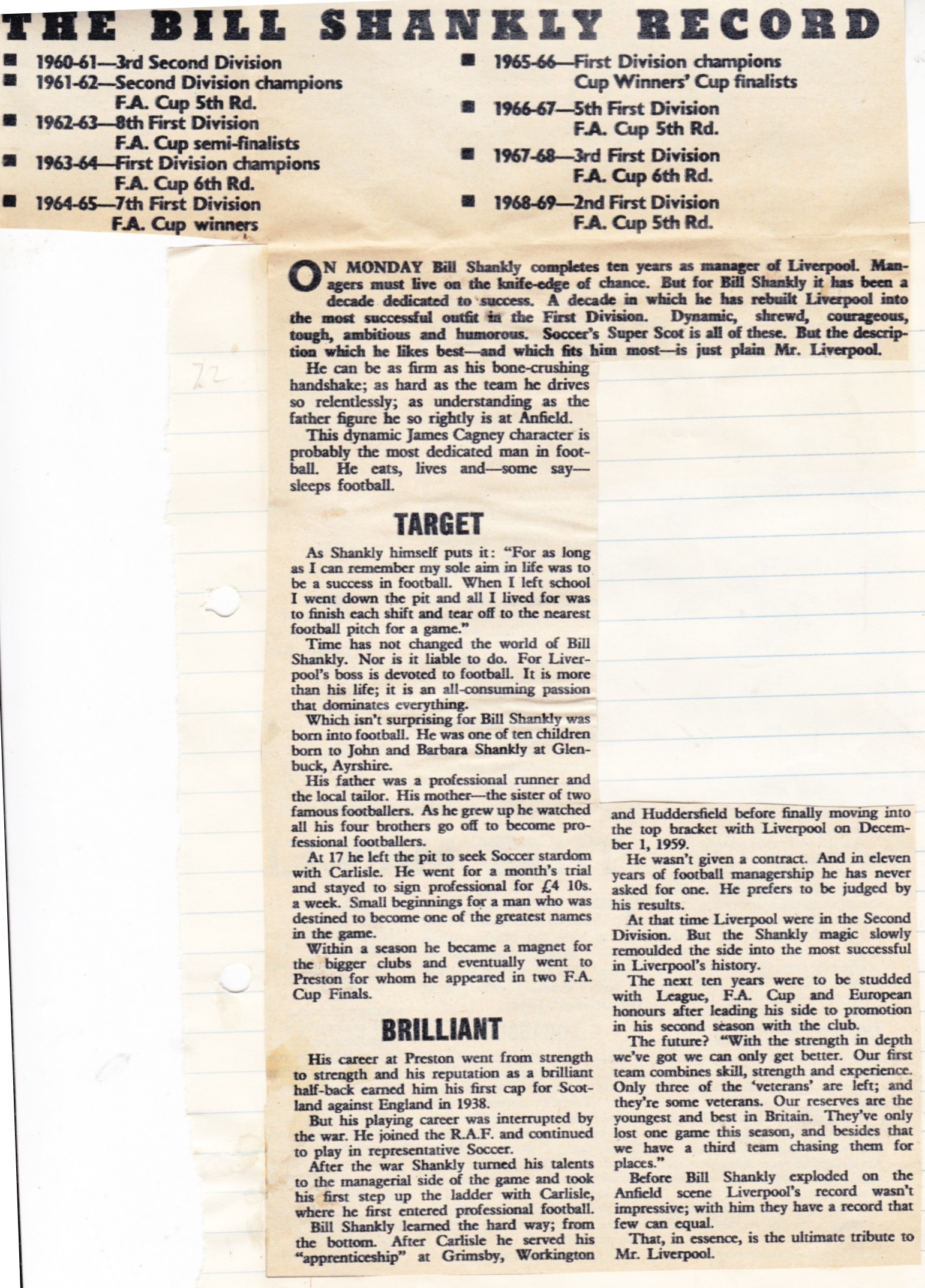Shankly's record - November 1969