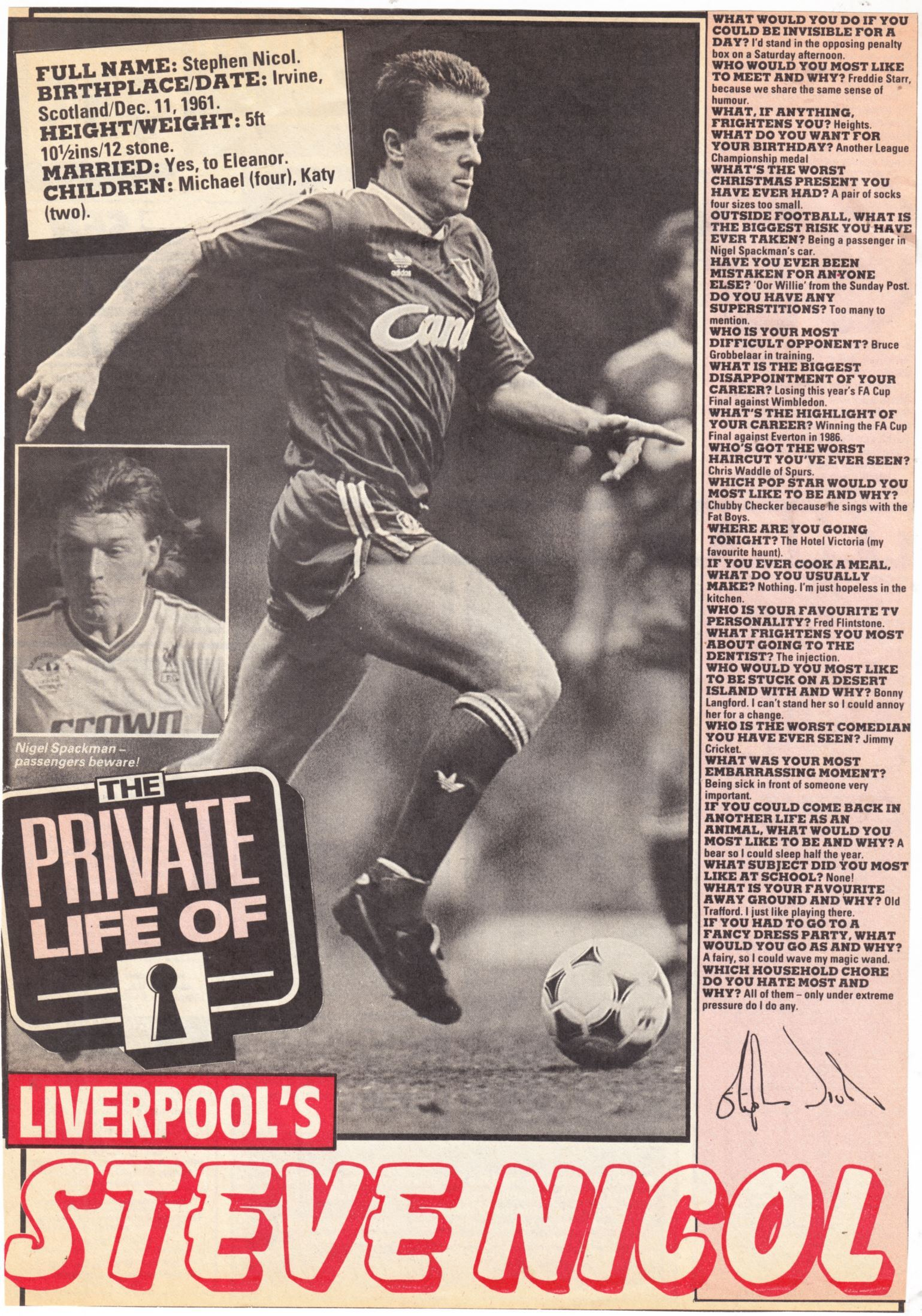 The Private Life of Steve Nicol - 1988