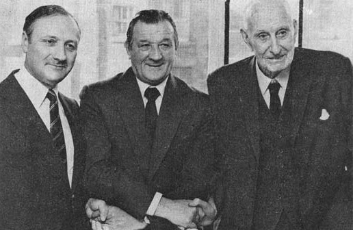 John Smith, current chairman of Liverpool and TV Williams, former chairman, with Bob Paisley in 1974