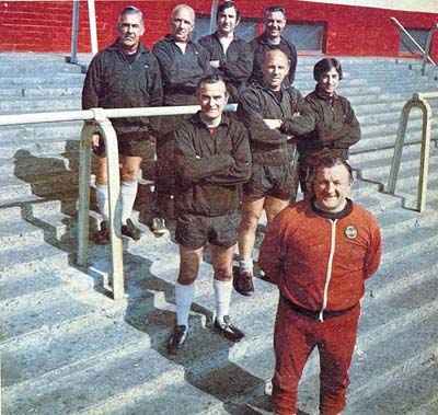 Paisley and his backroom staff: Back row - Tom Saunders, Reuben Bennett, Geoff Twentyman and Joe Fagan. Front row: John Bennison, Ronnie Moran and Roy Evans