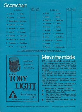 Match programme - back cover