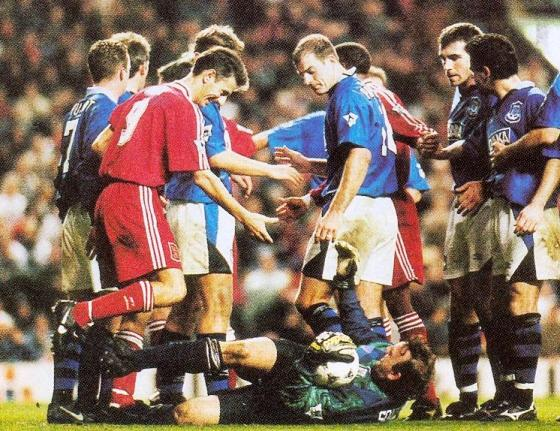 In the Merseyside derby on 18th November 1995 Ian got himself involved in a melee after challenging for the ball against Neville Southall. A smile and a helping hand resolved the situation