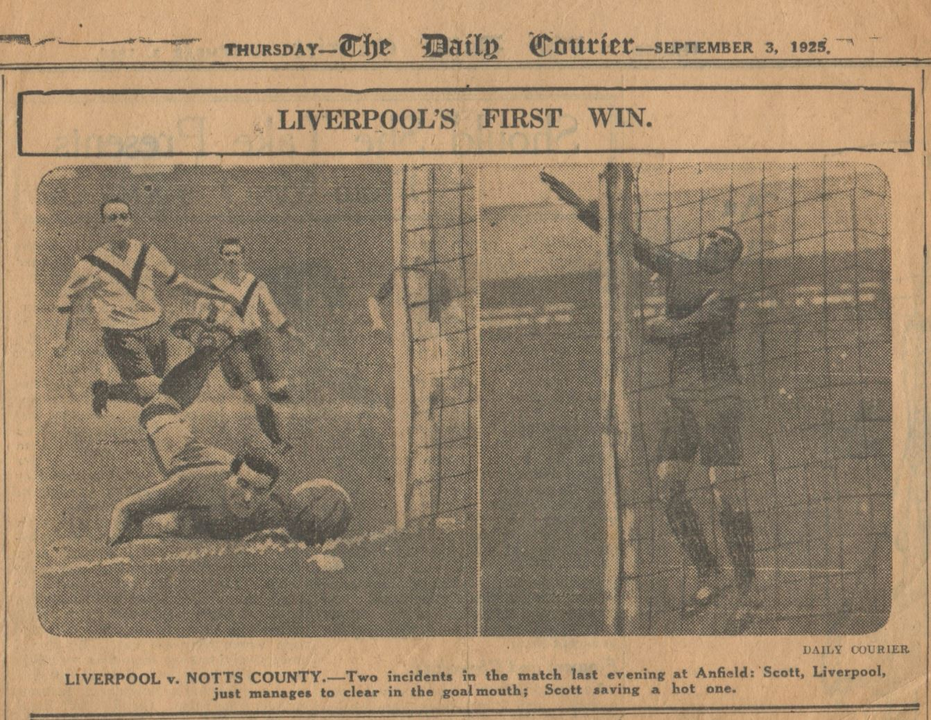 Liverpool's first win - 2 September 1925