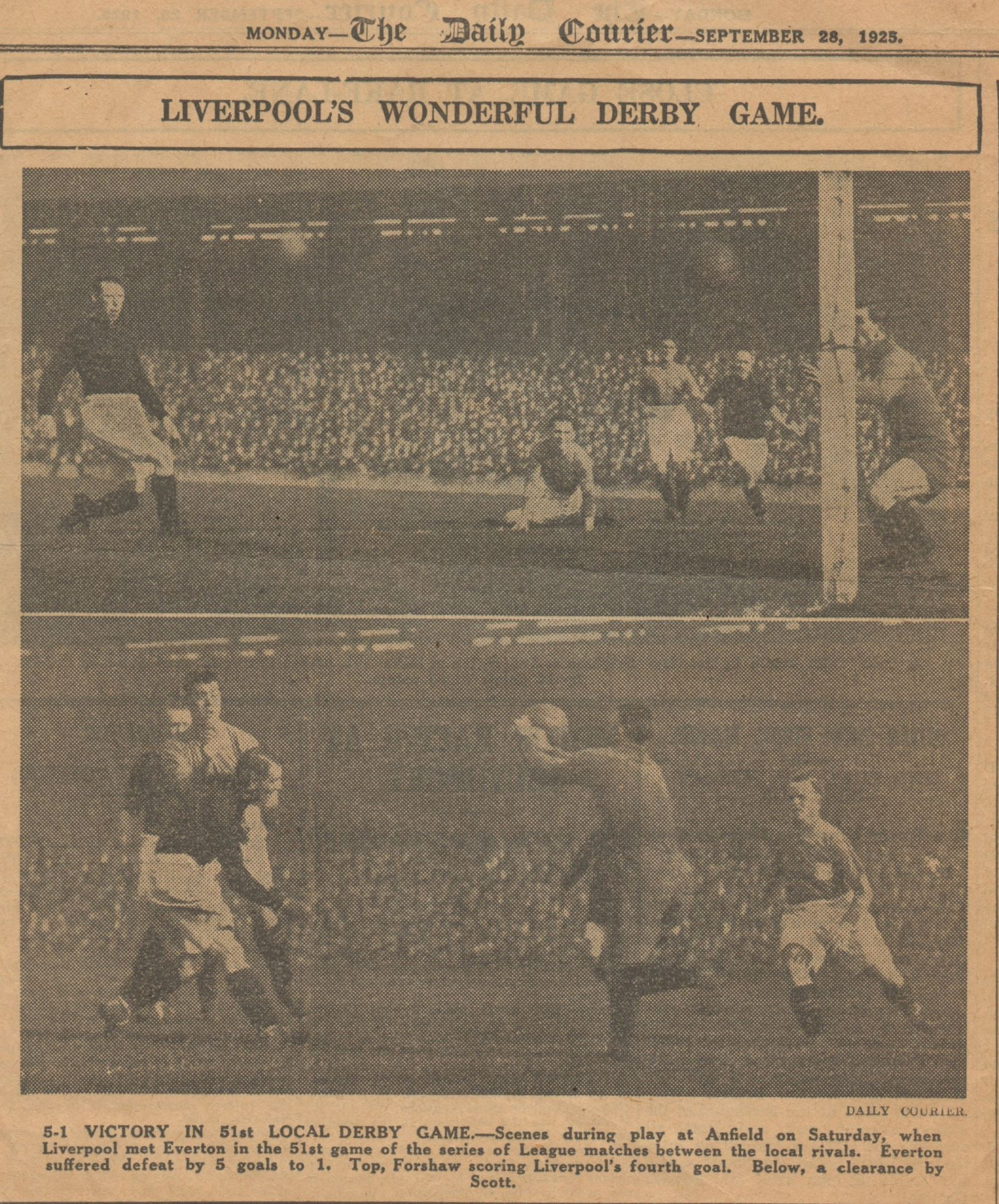 Liverpool's wonderful derby game - 26 September 1925